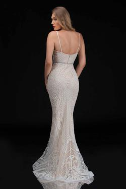 Style 8173 Nina Canacci White Size 12 Pattern Nude Tall Height Mermaid Dress on Queenly