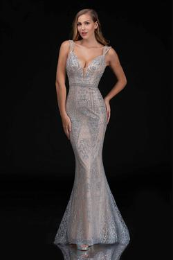 Queenly size 0 Nina Canacci Silver Mermaid evening gown/formal dress
