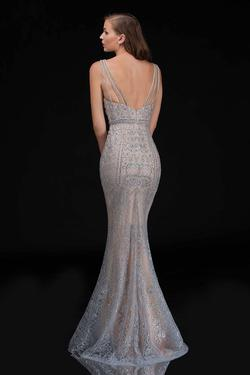 Style 8177 Nina Canacci Silver Size 4 Plunge Pageant Mermaid Dress on Queenly
