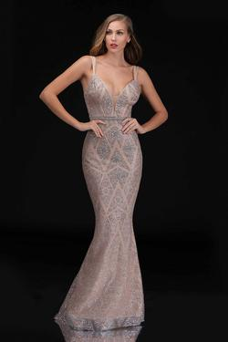 Style 8181 Nina Canacci Gold Size 10 Plunge Pageant Mermaid Dress on Queenly