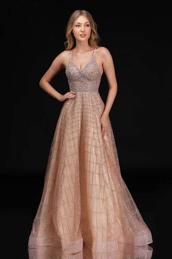 Style 8182 Nina Canacci Gold Size 8 Jewelled Tall Height A-line Dress on Queenly