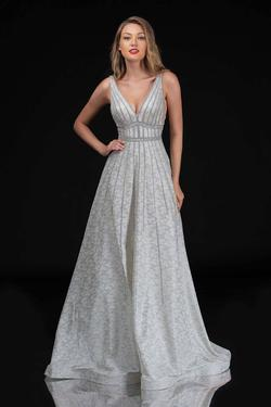 Style 8185 Nina Canacci Silver Size 0 Backless Tall Height A-line Dress on Queenly