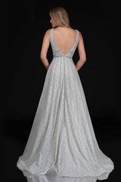 Style 8185 Nina Canacci Silver Size 2 Plunge Pageant A-line Dress on Queenly