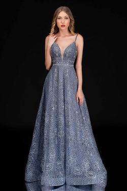 Style 8187 Nina Canacci Silver Size 8 Prom Tall Height A-line Dress on Queenly