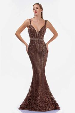 Style 8190 Nina Canacci Gold Size 8 Backless Plunge Mermaid Dress on Queenly