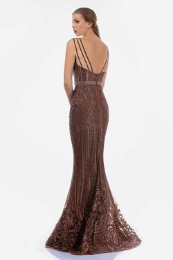 Style 8190 Nina Canacci Gold Size 12 Backless Plunge Mermaid Dress on Queenly