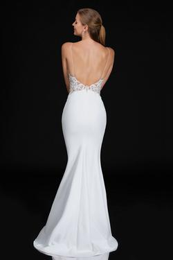 Style B3154 Nina Canacci White Size 10 Backless Tall Height Lace Mermaid Dress on Queenly