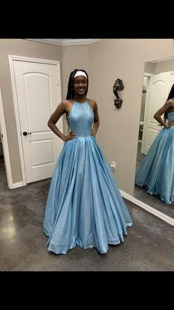 Sherri Hill Blue Size 00 Pageant Halter Tall Height Ball gown on Queenly