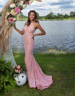 Style 68431 Jovani Pink Size 0 Plunge Prom Jersey Straight Dress on Queenly