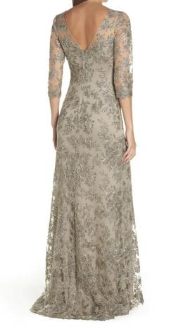 Tadashi Shoji Multicolor Size 10 Sleeves Lace Straight Dress on Queenly