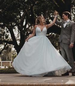 Sherri Hill Light Blue Size 6 Ball gown on Queenly