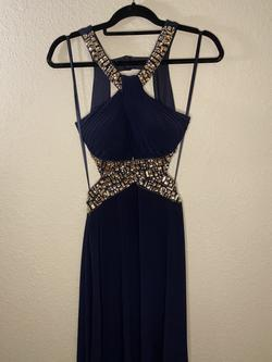 Betsy & Adam Blue Size 6 Halter Betsy And Adam Straight Dress on Queenly
