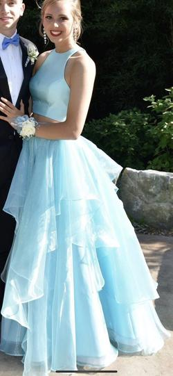 Sherri Hill Blue Size 4 Ruffles Halter Ball gown on Queenly