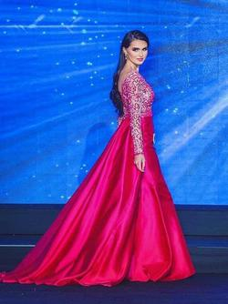 Jovani Pink Size 2 Long Sleeve Pageant Silk Train Dress on Queenly