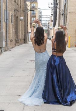 Sherri Hill Light Blue Size 4 Backless A-line Dress on Queenly