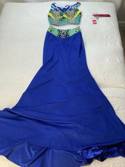 Mori Lee Blue Size 00 Two Piece Green A-line Dress on Queenly