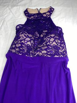 Queenly size 12 Morgan & Co Purple Side slit evening gown/formal dress