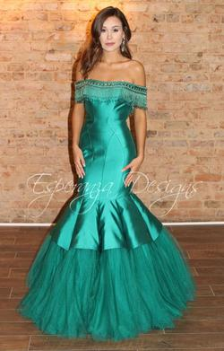 Queenly size 6 Rachel Allan Green Mermaid evening gown/formal dress