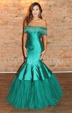 Rachel Allan Green Size 6 Tall Height Mermaid Dress on Queenly