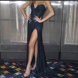 Sherri Hill Blue Size 2 Strapless Pageant Side slit Dress on Queenly