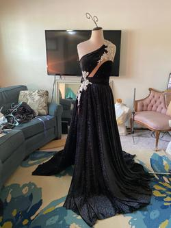 Queenly size 12 Custom made Black Straight evening gown/formal dress