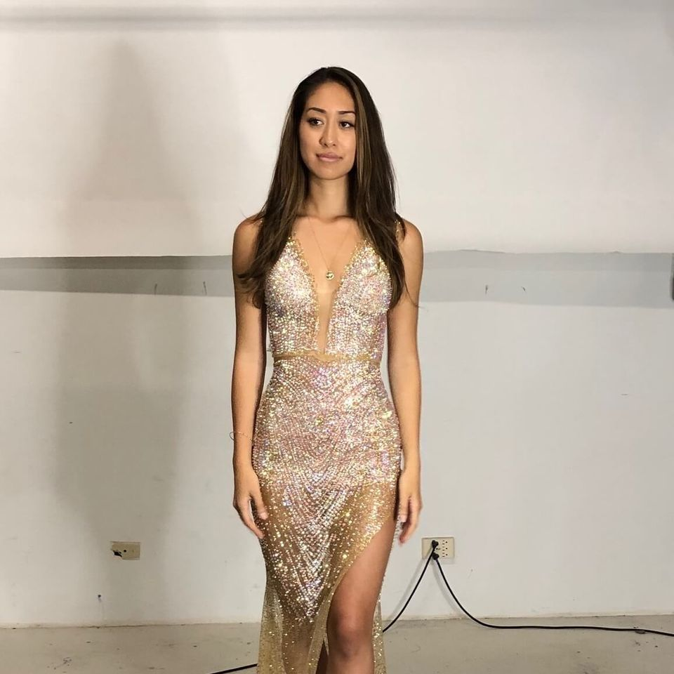 Queenly size 4 Kini Zamora Gold Side slit evening gown/formal dress