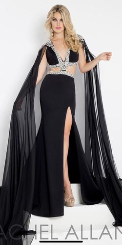 Rachel Allan Black Size 10 Pageant Cape Sequin Side slit Dress on Queenly