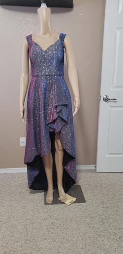 Blondie Nites Purple Size 4 Shiny High Low Prom Train Dress on Queenly