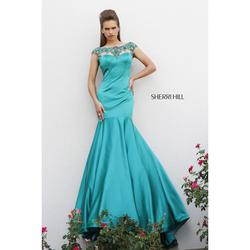 Sherri Hill Green Size 8 Prom Jewelled Mermaid Dress on Queenly