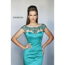 Queenly size 8 Sherri Hill Green Mermaid evening gown/formal dress