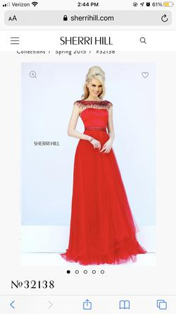 Sherri Hill Red Size 14 Jewelled Sleeves A-line Dress on Queenly