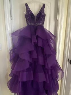 Ellie Wilde Purple Size 2 Jewelled Short Height Ball gown on Queenly