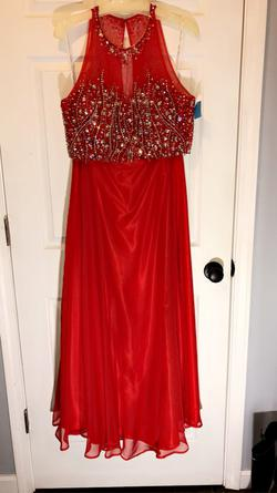 Juliet Red Size 12 Two Piece Jewelled A-line Dress on Queenly