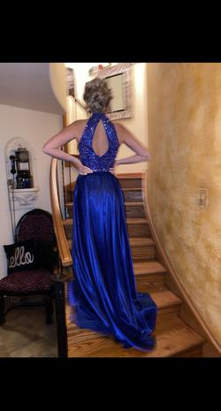 Style 11330 Sherri Hill Blue Size 4 Jewelled Halter Side slit Dress on Queenly