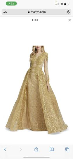 Queenly size 12 Mac Duggal Gold Ball gown evening gown/formal dress