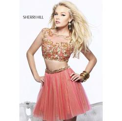 Sherri Hill Pink Size 4 Cap Sleeve Coral Two Piece Cocktail Dress on Queenly