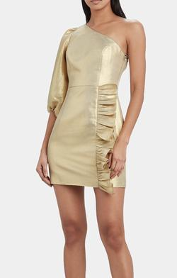 Luna Gold Gold Size 2 One Shoulder Interview Cocktail Dress on Queenly