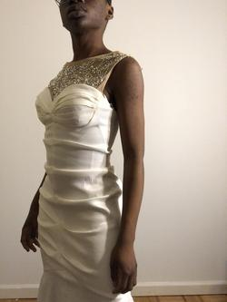 Blondie Nites White Size 2 Padded Yellow Side Slit Silver Mermaid Dress on Queenly