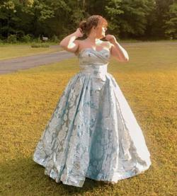 Style 66847 Mac Duggal Blue Size 14 Sweetheart Plus Size Ball gown on Queenly
