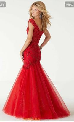 Mori Lee Red Size 00 Plunge Pageant Ball gown on Queenly