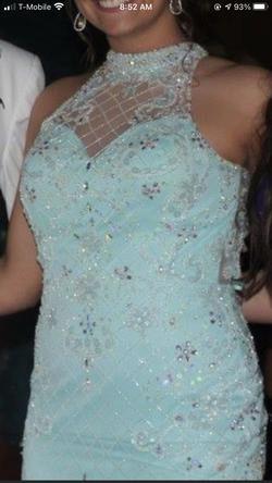 Faviana Light Blue Size 6 Halter Mermaid Dress on Queenly