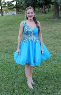Sherri Hill Blue Size 2 Silver Jewelled Sequin Cocktail Dress on Queenly