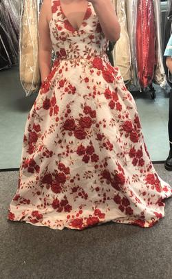 Jovani White Size 16 Floral Plunge Ball gown on Queenly