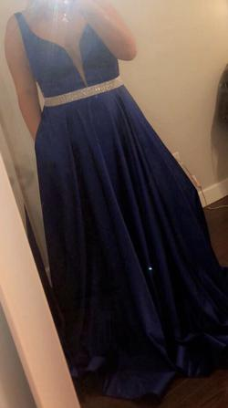 Queenly size 14 La Femme Blue A-line evening gown/formal dress