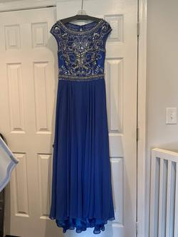Envious Couture Blue Size 10 Jewelled Straight Dress on Queenly