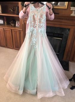 Sherri Hill Nude Size 0 Turquoise Lace Ball gown on Queenly
