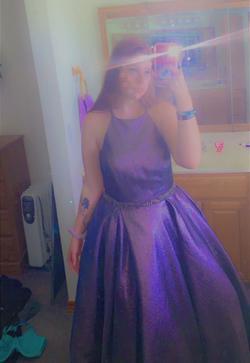 Alyce Paris Multicolor Size 14 Side Slit Halter Train Dress on Queenly