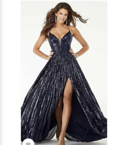 Mori Lee Blue Size 2 Plunge Corset Ball gown on Queenly