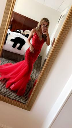 Jovani Red Size 0 Backless Train Mermaid Dress on Queenly