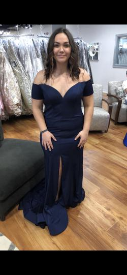 Glory Blue Size 14 Side slit Dress on Queenly